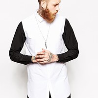 ASOS Smart Shirt In Longline With Contrast Sleeves - White