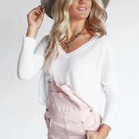 SZ L Inside Out Cream Waffle Knit Thermal Top
