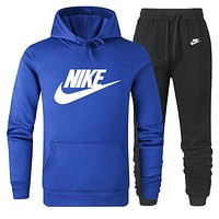 NIKE Women Men Lover Top Sweater Pants Trousers Set Two-Piece Sportswear Sapphire Blue