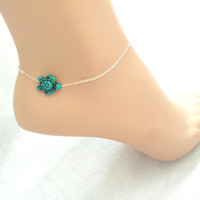 Silver, turtle, anklet, turtle, jewelry, turtle, anklet, turtle, ankle, anklet, turquoise, turtle, minimal, jewelry