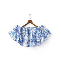 Blue Off The Shoulder Ruffle Crop Top