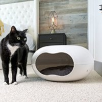 Cat Bed Cave. Unique Design. Cozy Pod Comes with Plush Washable Cushion. Perfect for Small Pets and Kittens. Comfortable Cat Furniture that you and Your Pet will Enjoy