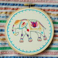 """Hand Embroidered Painted Elephant. Custom 5"""" Embroidery Hoop Art. Hand Stitched Fiber Art. Hand Made By Hoopla."""