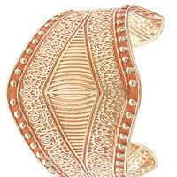 Painted Pastel Cuff Bracelet - Gold/Coral