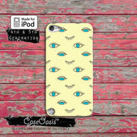 Blue Eyes Pattern Eye Lashes Blink Illuminati Cute Case iPod Touch 4th Generation or iPod Touch 5th Generation or iPod Touch 6th Gen Rubber