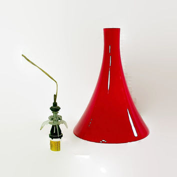 Mid Century Glass Pendant Light Shade - Prescolite Lamp Fixture - Red - 1960s - Modern Lighting - Milk Glass