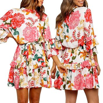 2020 new women's fashion floral print round neck long sleeve dress