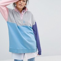 Lazy Oaf Panel Zip Sweatshirt at asos.com