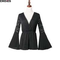 Women Black Crochet Lace Panel Patchwork Flare Long Sleeve Romper Plunge Deep V Neck Playsuit 2016 New Fashion Sexy Jumpsuit