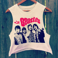 Vintage style The Beatles crop top shirt light pink Ombre