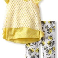 Little Lass Baby Girls' 2 Piece Capri Set with Bow Detail, Yellow, 18 Months