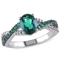 1/10 CT  Diamond TW And 1 1/4 CT TGW Created Emerald Fashion Ring  10k White Gold GH I2;I3