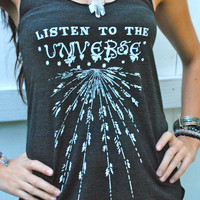 LISTEN To The UNIVERSE Tank  Tribal Bohemian by GrizzyLove on Etsy