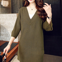 Army Green Deep V-Neck Ribbed Mini Sweater Dress