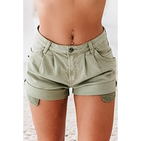 Feel The Heat High Waisted Cuffed Shorts (Olive)