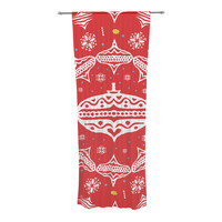 "Miranda Mol ""Deco Wreath Red"" Scarlet Decorative Sheer Curtain"