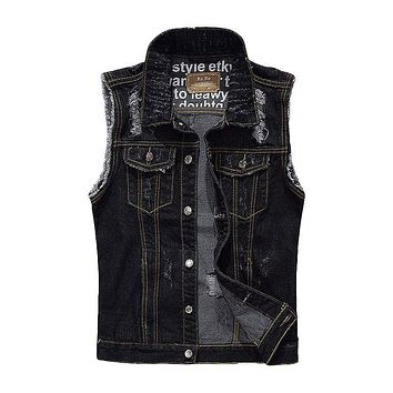 Men Black Personality Ripped Denim Vests