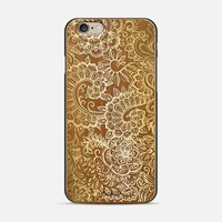 Detailed Doodle in Tan & Cream on Wood iPhone 6 case by Micklyn Le Feuvre | Casetify