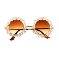 Unique Metal Lace Womens Retro Indie Hippie Round Sunglasses R1620