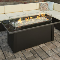 Black Glass Fire Pit Table With Solid Base