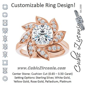 Cubic Zirconia Engagement Ring- The Xiùying (Customizable Cushion Cut Design with Artisan Floral Halo)