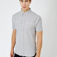 The Idle Man Gingham Check Shirt Grey
