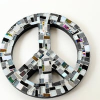 Black and White Mosaic Peace Sign