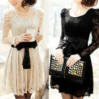 new 2013 Sexy Lady's Long Sleeve Lace Leopar Formal Party Dress Evening T-shirt