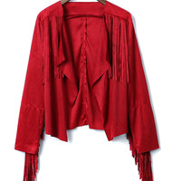 Wine Red Lapel Fringe Tassel Long Sleeve Suedette Jacket