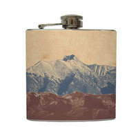 Mountain Landscape Whiskey Flask Traveler Camping Hiking Gift Stainless Steel 6 oz Liquor Hip Flask LC-1041