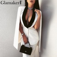 Glamaker Sexy ladies blazer cape coat Women deep v neck spring elegant sleeveless vest femme suit jacket Casual cloak jacket