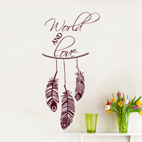 Wall Decal Quote World And Love Dream Catcher Feathers Indian Pattern Decals Bedroom Living Room Window Stickers Interior Home Decor 3957