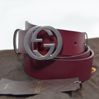 Gucci Leather belt with interlocking G Bordeaux Leather 95 100