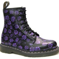 The British Boot Company - Solovair, Grinders, George Cox, Gladiator, Dr Martens, NPS, Hawkins,Tredair, Gripfast - Dr Martens - Black And Purple Gothic Rose Boot (8 Eyelet)
