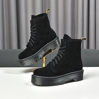 lv louis vuitton trending womens men leather side zip lace up ankle boots shoes high boots 136