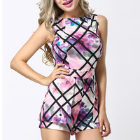 Black Striped Painting Print Sleeveless Rompers