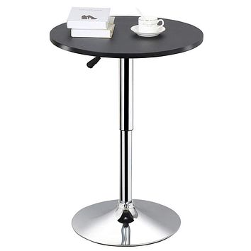 Topeakmart Adjustable Round Pub Table Counter Bar Height MDF Top Table 306° Swivel Bar Tables Tall Cocktail Tables Bistro Table 1