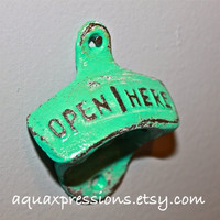 Aquamarine  Bottle Opener /Cast Iron /Vintage, Retro Feel /Kitchen, Man-cave, Game Room, Patio, Hangout /Metal Wall Decor