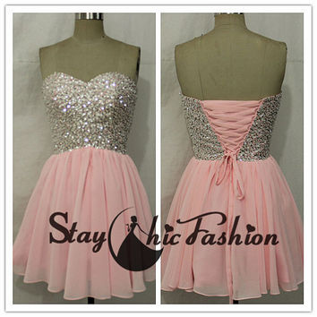 Pink Sequined Top Chiffon Dress, Sparkly Pink Strapless Prom Dress, Pink Chiffon Beaded Homecoming Dress
