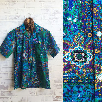 Vintage 1960's Mens KALEIDESCOPIC Psychedelic Paisley And Floral Print Cotton Hawaiian Shirt || Deadstock Unworn || Size Small To Medium