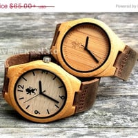 SALE Peronalized Minimalist Wooden Watch With Genuine Leather. Groomsmen Gift. Mens Watch. Wood Watch.