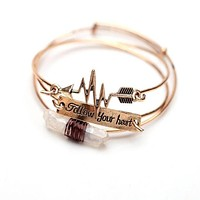 Women's 3Pcs Cuff Arrow with Stone Crystal Bangle