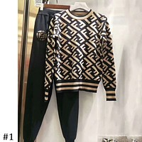 FENDI 2018 autumn and winter models tide brand fashion round neck sweater + guard pants two-piece F-AF-MMOH #1