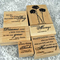 """Stampin Up Rubber Stamps - NEAR MINT Stampin Up  -- """"Happy Harmony"""" Phrase Set - Great for Scrapping, Cardmaking, Crafts"""