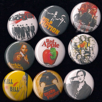 "QUENTIN TARANTINO Pins Buttons Badges reservoir dogs pulp fiction cult film 1"" Pinback"