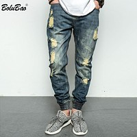 Street Old Holes Skinny Jeans Men Feet Ripped Jeans Man Joggers Trousers