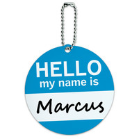 Marcus Hello My Name Is Round ID Card Luggage Tag