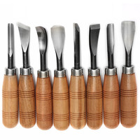 New 8PCS Wood Graver Wood Carving Knife Chisel Carving Hand Tool Stainless Steel + Wood Material Engraving Craft Knives
