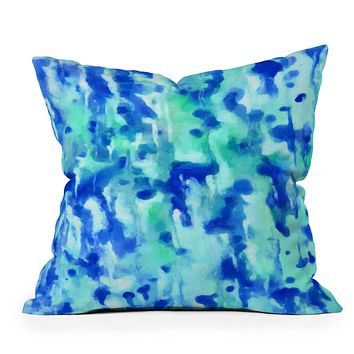 Rosie Brown Blue On Blue Outdoor Throw Pillow