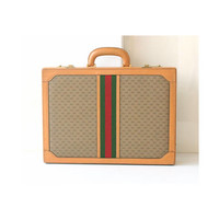 auth GUCCI vintage monogram Red Green briefcase Italy